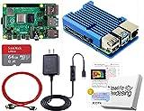 Raspberry Pi 4 アーマード (4GB基盤, アーマーケース(ブルー:FAN無), 3A電源, 高速型64GB MicroSD,4K出力用HDMIケーブル, スイッチケーブル)