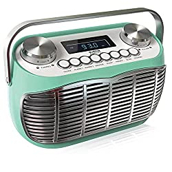 AM FM Portable Radio, Battery Operated or AC Powered Retro Portable Radios with Best Reception, Vintage Clock Radio with Dual Alarms, Plug in Wall Transistor Radio, Shortwave AM/FM Radios for Home
