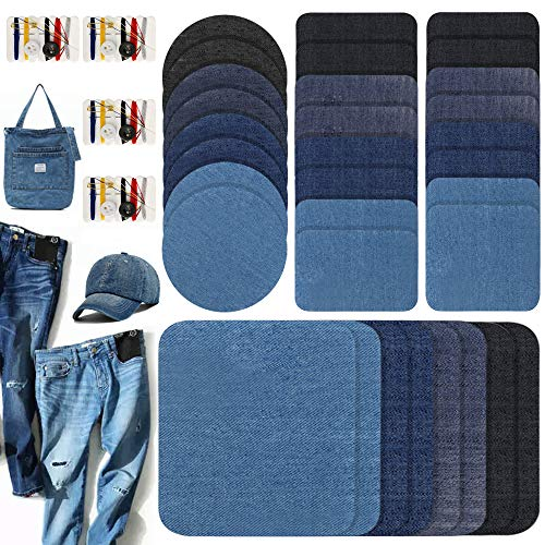 LZYMSZ 36pieces Denim Iron On Patches Set, 32pcs No-Sew Shades of Blue Black Assorted Denim Repairs Patches for Knee/Jeans/Clothing & 4pcs Mini Sewing Kit