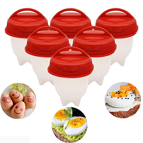 Hard Boiled Egg Maker,Boiling Eggs Without the Egg Shell-Silicone Egg Cooker with Instruction Book(Pack of 6)