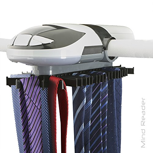 Mind Reader Automatic Motorized Revolving Tie and Belt Rack with Built in LED Light Closet Organizer - ETRACK-WHT