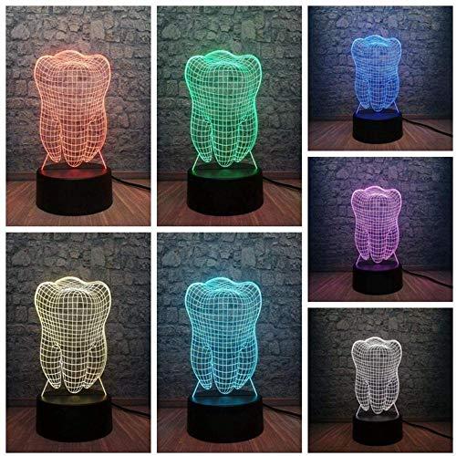 Luz de noche 3D Lámpara de dientes de dientes 3D Atmósfera RGB Luz de noche Colorido Niños Juguete Dormitorio Escritorio Mesa Luz táctil Como regalo Cumpleaños Luz de noche 3D Modo tres en uno T
