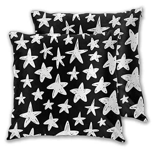 QYUESHANG 3D Print Throw Pillow Cover Case,Hand Drawn Cute Kids Stars Space Simple Black,Modern Pillowcase for Sofa Couch Bed Car Set Home Decor 18'x 18' Pillowcase Cushion Covers Zipper 2pcs