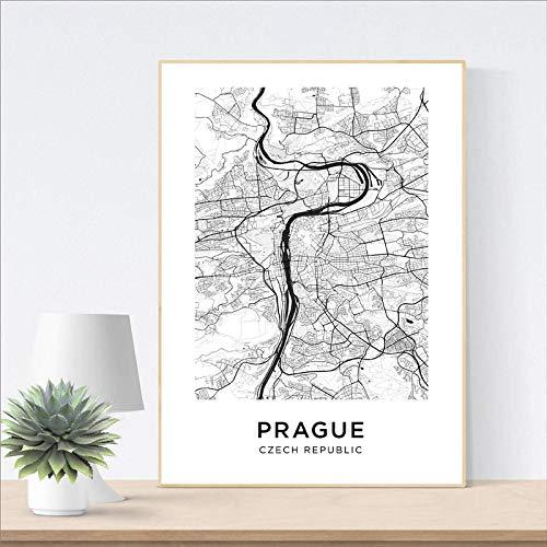 ERQINGWL Leinwanddrucke,Prag Stadtplan Poster Ohne Rahmen Leinwand Malerei Wandkunst Bild, Geeignet Für Hotel -Wohnzimmer-Restaurant-Schlafzimmer-Wohnkultur(Ohne Rahmen)
