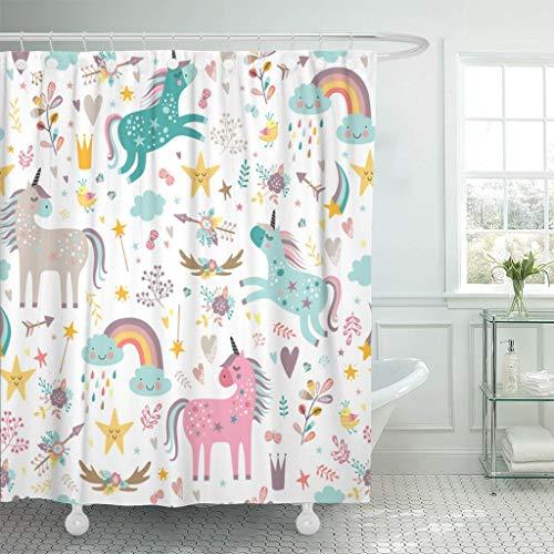 "New Large 71/""x79/"" Black White Mermaid EVA Bathroom Shower Curtain w//12 Hooks Set"