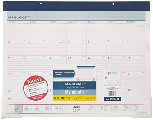 """AT-A-GLANCE Academic Desk Pad Calendar, July 2017 - June 2018, 22"""" x 17"""", Two-Color (AYST2417)"""