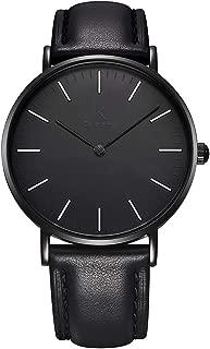 Fashion Minimalist Coal Black Wristwatch Unisex 36-40mm Case Synthetic Leather Strap Japan Quartz -BuryTony