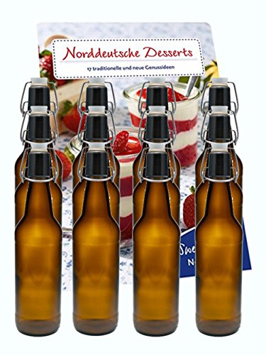 hocz 10er Set Bügelflaschen Bügelflasche Glasflaschen Bügelflaschen 500ml Braun mit Bügelverschluss zum Selbstbefüllen Bier Bierflaschen Bierflasche
