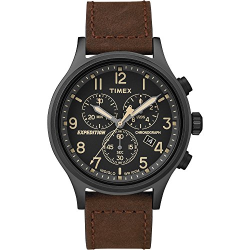 Timex Men's TW4B15700 Expedition Scout Chrono Brown/Black Leather Strap Watch