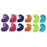 king's deal 履ける マイクロモップ,歩くだけで 簡単 お掃除 モップスリッパ マイクロファイバー 6足 セット (緑、ピンク、オレンジ、青、サファイア、紫の6足セット) (6 カラー)