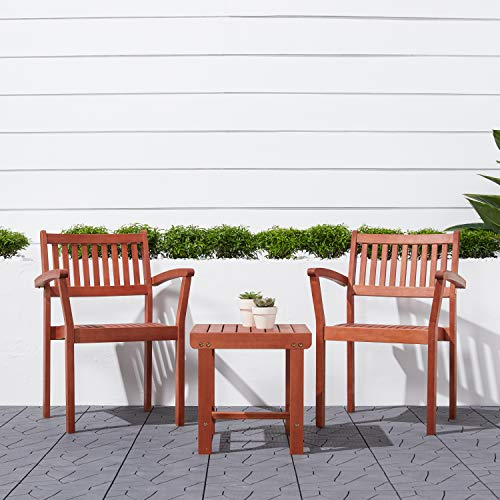 Malibu V1802SET5 Outdoor Patio 3-Piece Dining Set with Stacking Chair, Natural Wood
