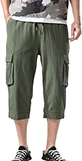 Auied Mens Fashion Casual Cotton Pocket Solid Outdoors Fitness Work Trouser Bottoms Cargo Short Pants Elasticated Waist Sweatpants