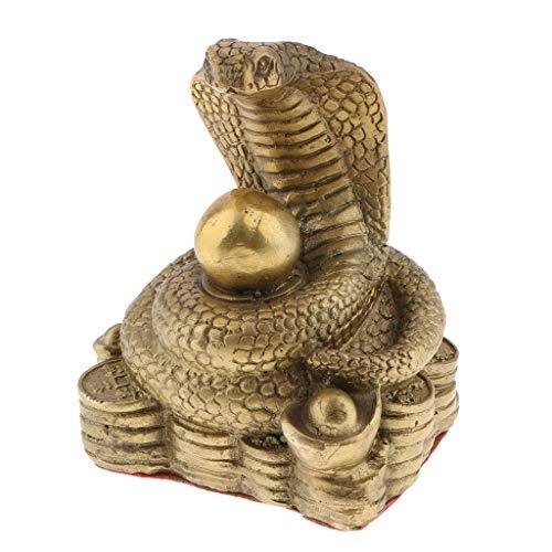 joyMerit Decoración De Fengshui Chino De Latón Puro Zodiaco 12 Animal Estatua Moneda Símbolo De Mascota - Serpiente