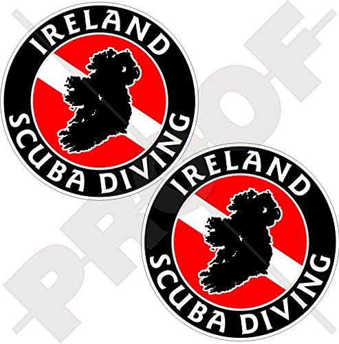 Lot de 2 autocollants circulaires en vinyle Motif drapeau de l'Irlande 75 mm