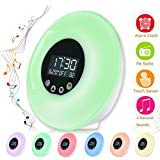 Wake Up Light Alarm Clock, ACUMSTE LED Bedside Lamp With Touch Control Sunrise/Sunset