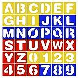 36 Piezas Plantilla Letras y Números, Colorido Números de letras de plantilla, Conjunto de números de plástico colorido plantilla, para Pintar, Aprender, Hacer álbumes de Recortes