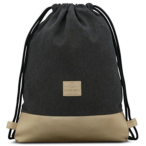 Turnbeutel Hipster Anthrazit/Gold - JOHNNY URBAN Luke Canvas Gymsack Gym Bag Beutel Sportbeutel Rucksack für Damen & Herren mit Innentasche - Aus robustem Baumwoll Canvas und veganem Leder