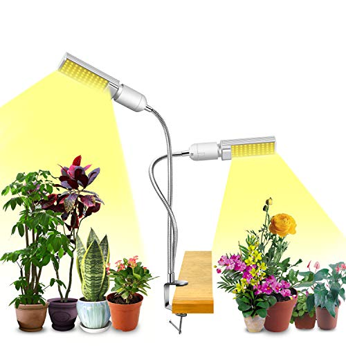 360/°Adjustable Arms 5 Dimmable Levels Clip-on Desk Plant Growth Lamps Grow Light for Indoor Plants ARTSEA 45W LED Grow Lamp Full Spectrum Triple Heads Plant Lights with Auto Timer