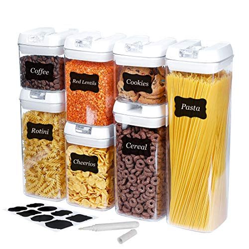 7 Pack Airtight Food Storage Container Set with Lids - Kitchen & Pantry Organization Containers -...