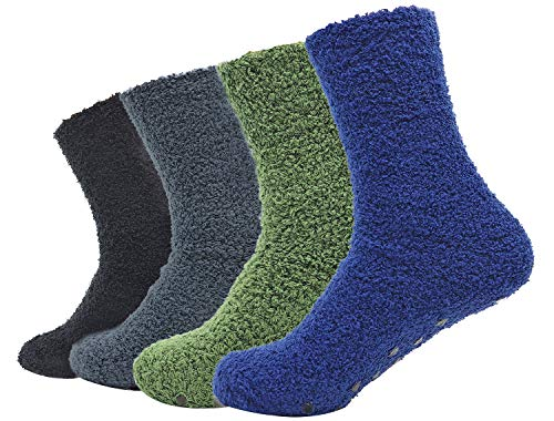 Unisex Fuzzy Microfiber Socks 4 Pack Thick Warm Comfort Crew Fashion Socks, Style 1