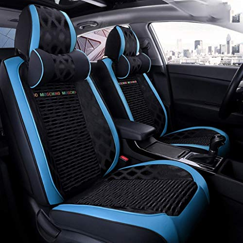 Wmxcz Car Seat Cover Sets,Universal Leather Sports Style Waterproof Nonslip Side Airbag Compatible for 5-Seats, 7 Pieces (color, Blue),Blue