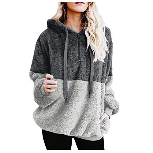 Damenmode Pullover Winter Warm Plüsch Kapuzenpullover Sweatshirt Reißverschluss Tasche Pullover Tops