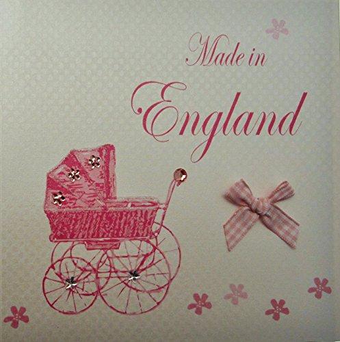 witte katoenen kaart Made in Engeland handgemaakt, New Baby Town kinderwagen, roze