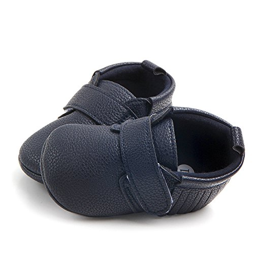 Babyschuhe Neugeborenes Kind Kind Jungen Mädchen Quaste Baseball Weiche Single Casual Flats für Kinder 3-6 Monate (Dunkelblau)