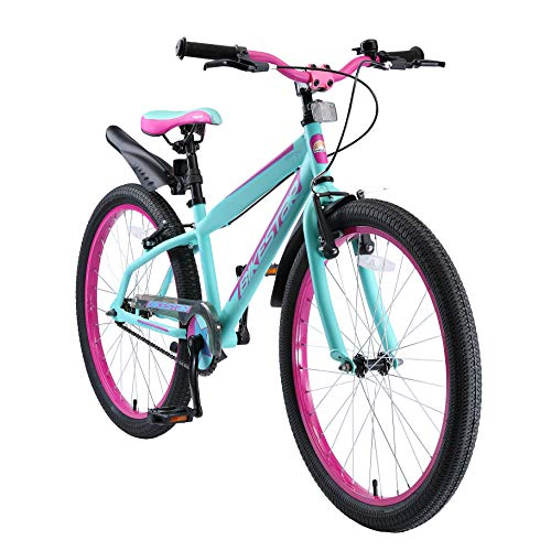 BIKESTAR Kids Bike Bicycle for Kids age 10-13 year old children | 24 Inch Mountain Bike Edition for boys and girls | Berry & Turquoise
