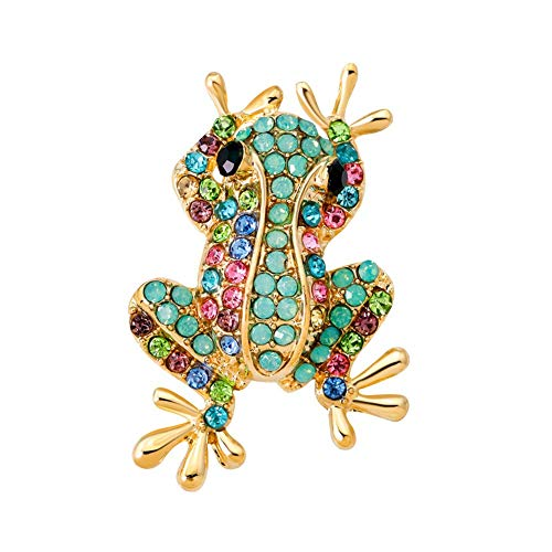 Fliyeong Women's Frog Rhinestone Inlaid Brooches Clothes Jewelry Accessories Durable and Useful