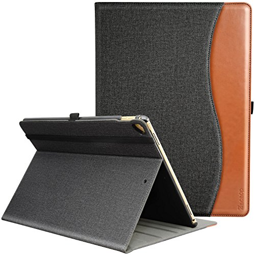 ZtotopCase Case for iPad Pro 12.9 Inch 2017/2015 (1st and 2nd Generation), Premium Leather Business Folio Case Cover, with Stand, Pocket and Auto Wake/Sleep Function, Multi-angle, Denim black
