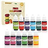 Colorante alimentario 12*10ml, Colorante Alimentario Alta Concentración Liquid Set para Colorear los Bebidas Pasteles Galletas Macaron Fondant