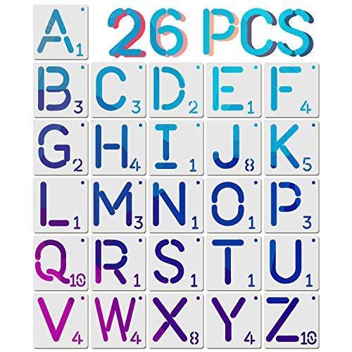 26 plantillas de letras de estilo Scrabble, plantillas de plástico reutilizables de 4 pulgadas para pintar sobre madera