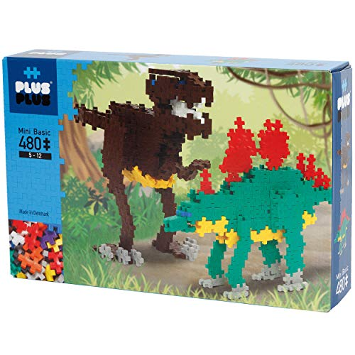 PLUS PLUS - Instructed Play Set - 480 Piece Dinosaurs - Construction Building Stem Toy, Interlocking Mini Puzzle Blocks for Kids, Red, Green, Brown, Yellow, White, Blue