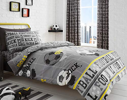 Bedlam - Football - Childrens Duvet Cover Set | Single Bed Size | Grey & Yellow Bedding