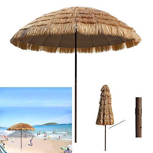 Yuany 8,2 Fuß Thatch Patio Tiki Regenschirm Tropischer Palapa Raffia Tiki Hut Hawaiianischer Hula Sonnenschirm Anti-UV