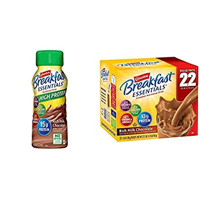 Carnation Breakfast Essentials High Protein Ready-to-Drink, Rich Milk Chocolate, 8 Ounce Bottle (Pack of 24) (Packaging May Vary) & Powder Drink Mix, Rich Milk Chocolate, Box of 22 Packets