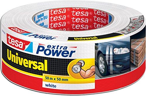 tesa 56389 Extra Power Universal Lot de 4 rubans de réparation résistants aux UV et à l'eau Blanc 50 m x 50 mm