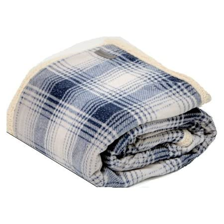 Eddie Bauer Brushed Fleece Collection Throw Blanket Reversible Sherpa Cover Soft Cozy Perfect For Bed Or Couch Nordic Midnight Home Kitchen