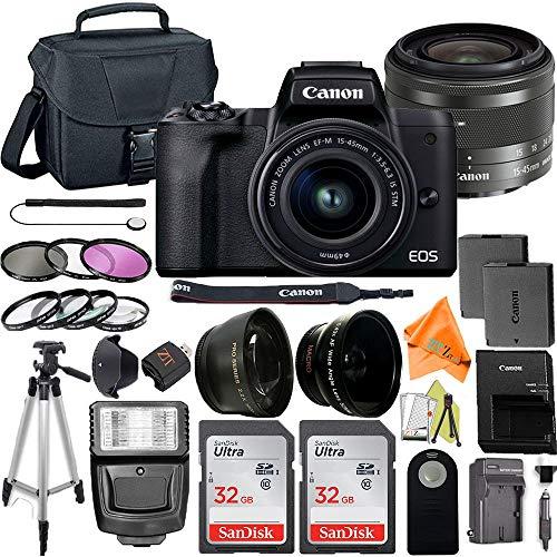 Canon EOS M50 Mark II Mirrorless Digital Camera 24.1MP Sensor with EF-M 15-45mm is STM Zoom Lens, 2 Pack SanDisk 32GB Memory Card, Bag, Tripod, Flash and ZeeTech Accessory Bundle (Black)
