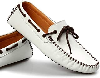Cosplay-X Men's Casual Genuine Leather Shoes Slip on Loafers Leisure Vintage Flat Boat Shoes