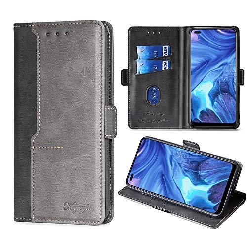 FiiMoo Handyhülle Kompatibel mit Oppo Reno 4 5G, [Weicher TPU] [Kartenfach] [Magnetverschluss] [Aufstellfunktion] PU Leder Tasche Flip Wallet Hülle Schutzhülle Hülle für Oppo Reno 4 5G -Schwarz