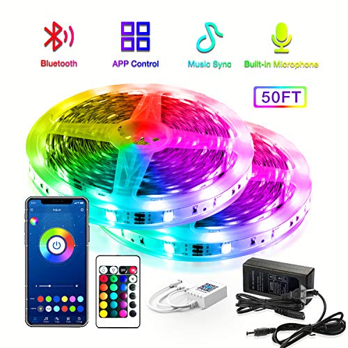 Daybetter Smart RGB Led Strip Lights with Bluetooth,50FT Led Lights for Bedroom APP Control,SMD5050 Mulitcolor led Light Strips Sync to Music Apply for Room,Kitchen,Bar,Party Decoration