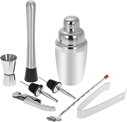 Anself 8pcs 350ml Stainless Steel Cocktail Shaker Mixer Kit with Muddler Corkscrew Jigger Ice Tongs Mixing Spoon Pourers Bartender Type 2