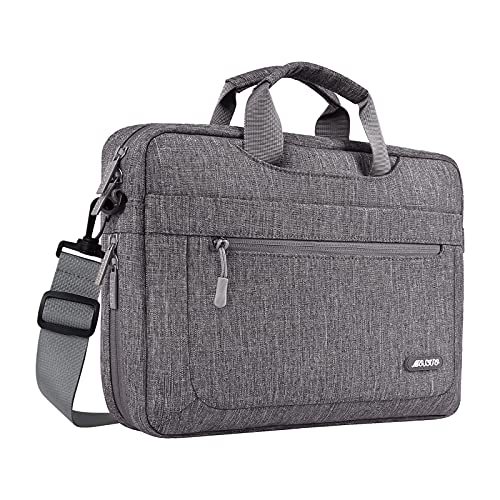 MOSISO Laptop Shoulder Bag Compatible with MacBook Pro 16 A2141 Retina 15 A1398, 15-15.6 inch Notebook, Polyester Messenger Carrying Briefcase Sleeve with Adjustable Depth at Bottom, Gray