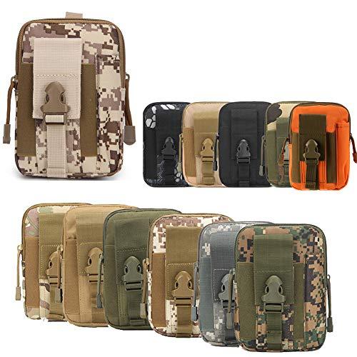 ZhaoCo Taktische Hüfttaschen, Nylon Militär Kompakt MOLLE EDC Handytasche Gürteltasche Beutel für Gadget-Dienstprogramm Camping Wandern Reise - Tarnung 03