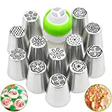 Feleph Russian Piping Tips 13PCS Cake Decorating Kit for Cupcake Cookie 12 Russian Icing Nozzles 1...