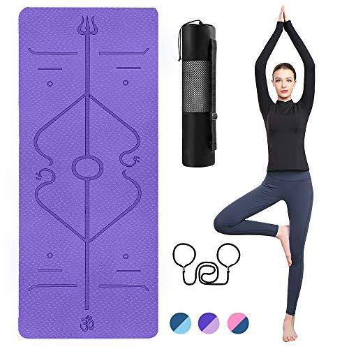 TTMOW Yogamatte rutschfest mit Ausrichtungslinien TPE Gymnastikmatte mit Tragegurt und Aufbewahrungstasche für Yoga,Pilates,Fitness.Ideal als Sportmatte,Fitnessmatte,Trainingsmatte Yoga mat (lila-1)