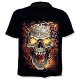 T - Shirt Homme tête de Mort - Gothique - Manches Courtes - drôle - Chemise - Motard - garçon - Rock - Punk - feu - déguisement - Halloween - Couleur Noire - Taille m Dark Metal