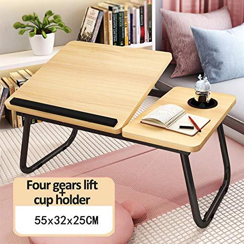 Anwasd7 Cama Plegable para Computadora PortáTil Mesa De Computadora Escritorio Dormitorio Perezoso Mesa Plegable Mini Mesa PequeñA-Amarillo_los 55x32x25cm